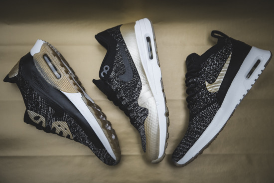 "Buty damskie sneakersy Nike Air Max 1 Ultra 2.0 Flyknit ""Metallic Gold"" Pack 881195 001"