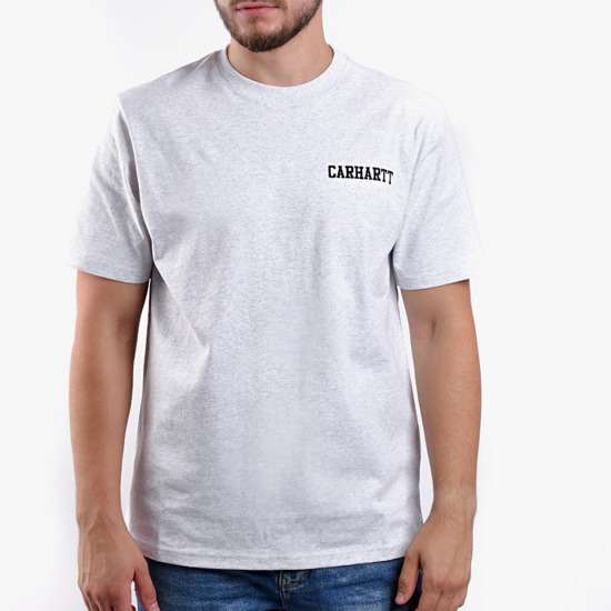 Koszulka męska Carhartt WIP College Script T-Shirt I024806 ASH HEATHER/BLACK