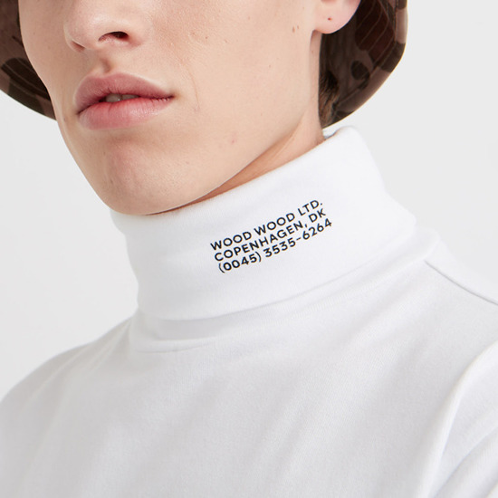 Sweter męski Wood Wood Austin Turtleneck 11935401-2470 Bright White